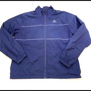 Adidas Rain Jacket Windbreaker Blue Reflective Lg